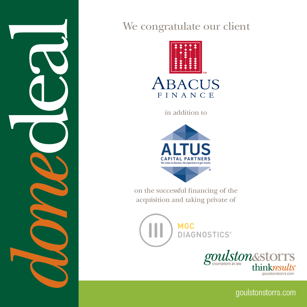 Goulston & Storrs congratulates client Abacus Finance and Altus Capital Partners