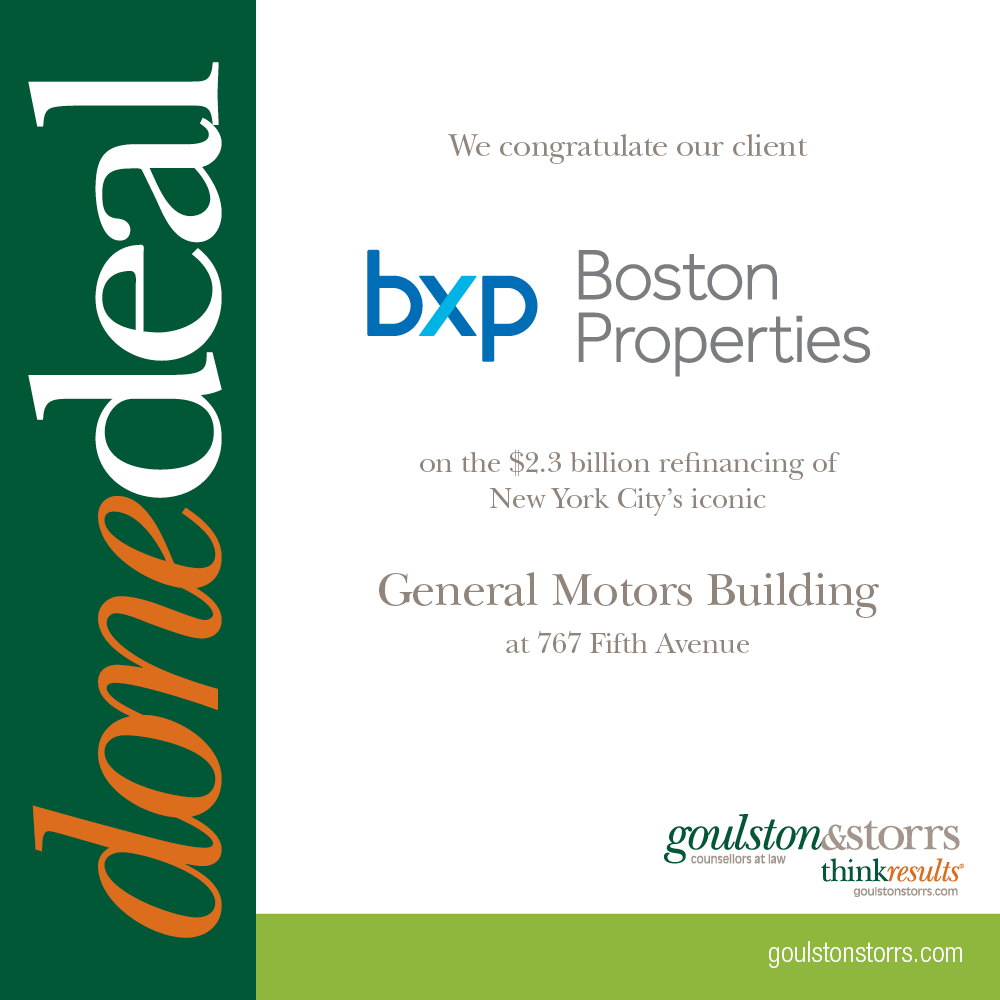 Congratulations to Boston Properties for successful refinancing of the GM Building in NYC
