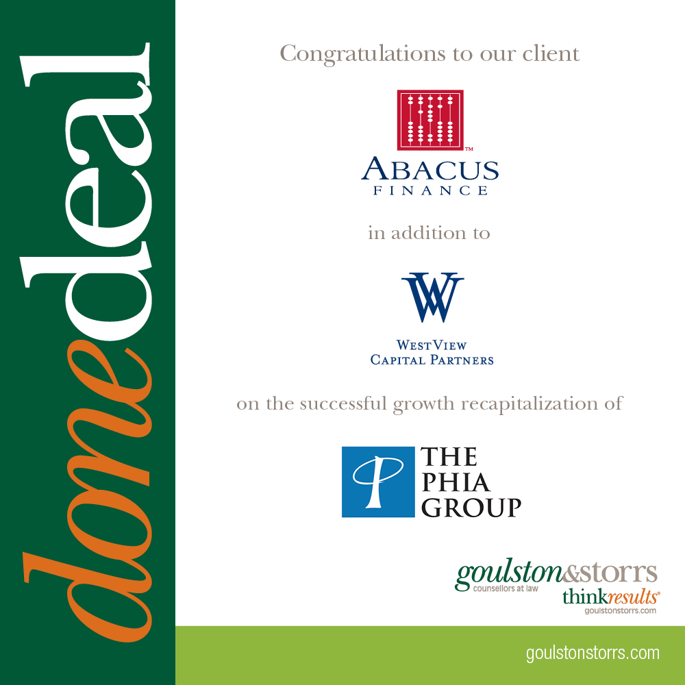 Done Deal - Abacus Finance, WestView Capital Partners, The Phia Group