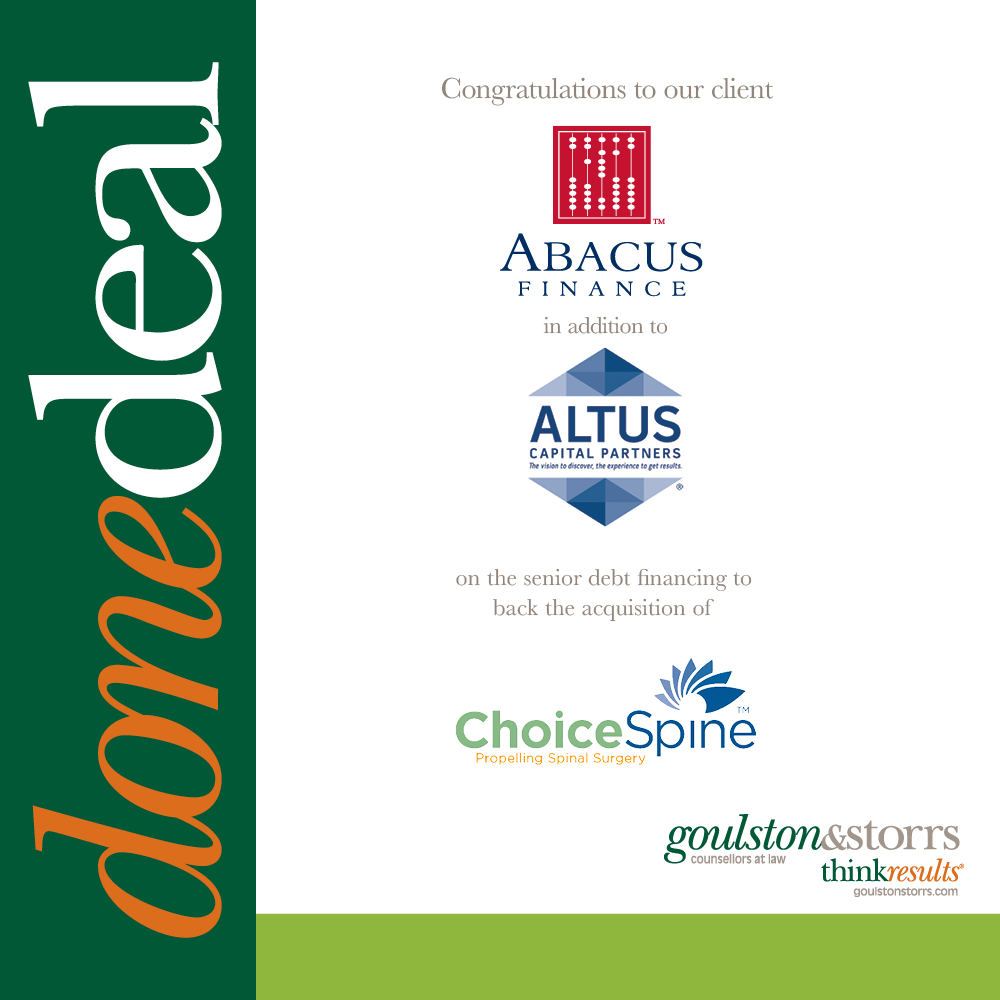 Done Deal - Abacus Finance, Altus, Choice Spine