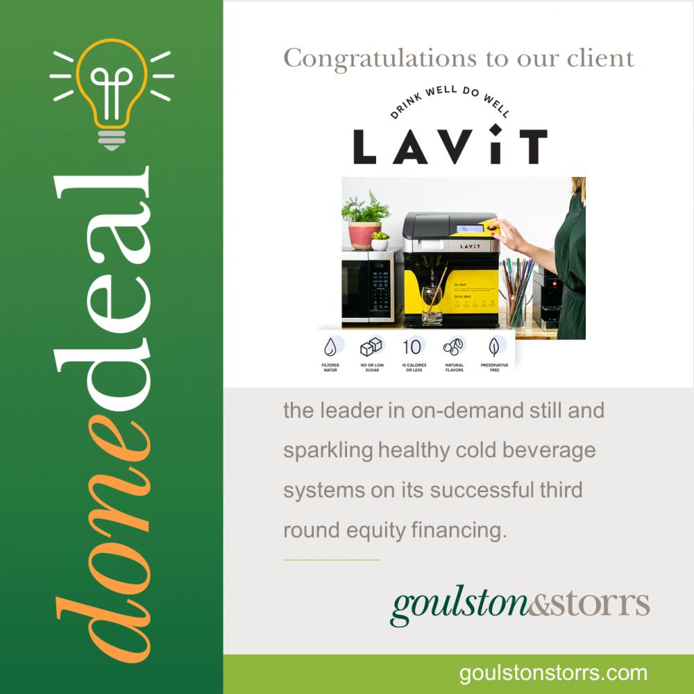 Goulston & Storrs congratulates client Lavit
