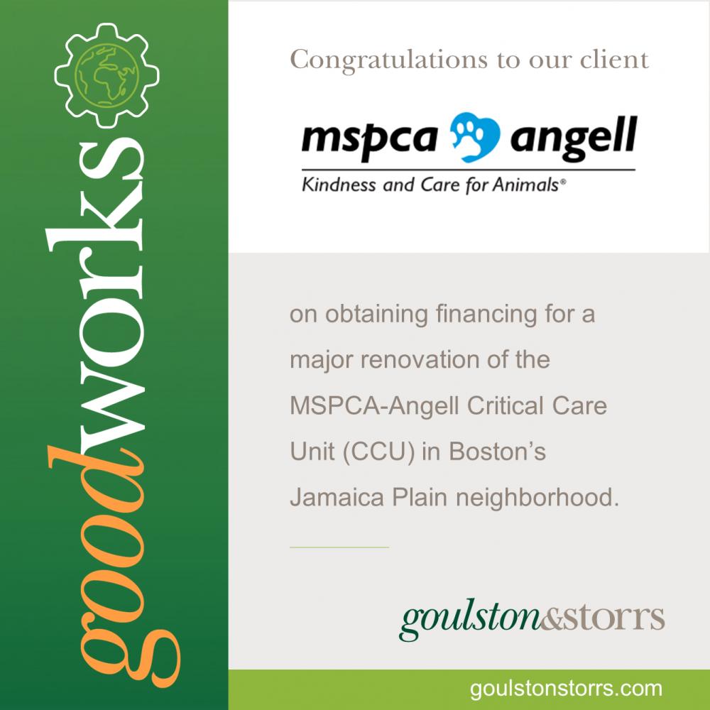 Goulston & Storrs congratulates client MSPCA Angell