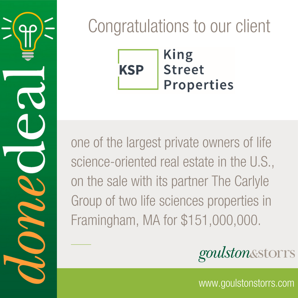 Congratulations to King Street Properties on it's sale of two life sciences properties for $151,000,000.