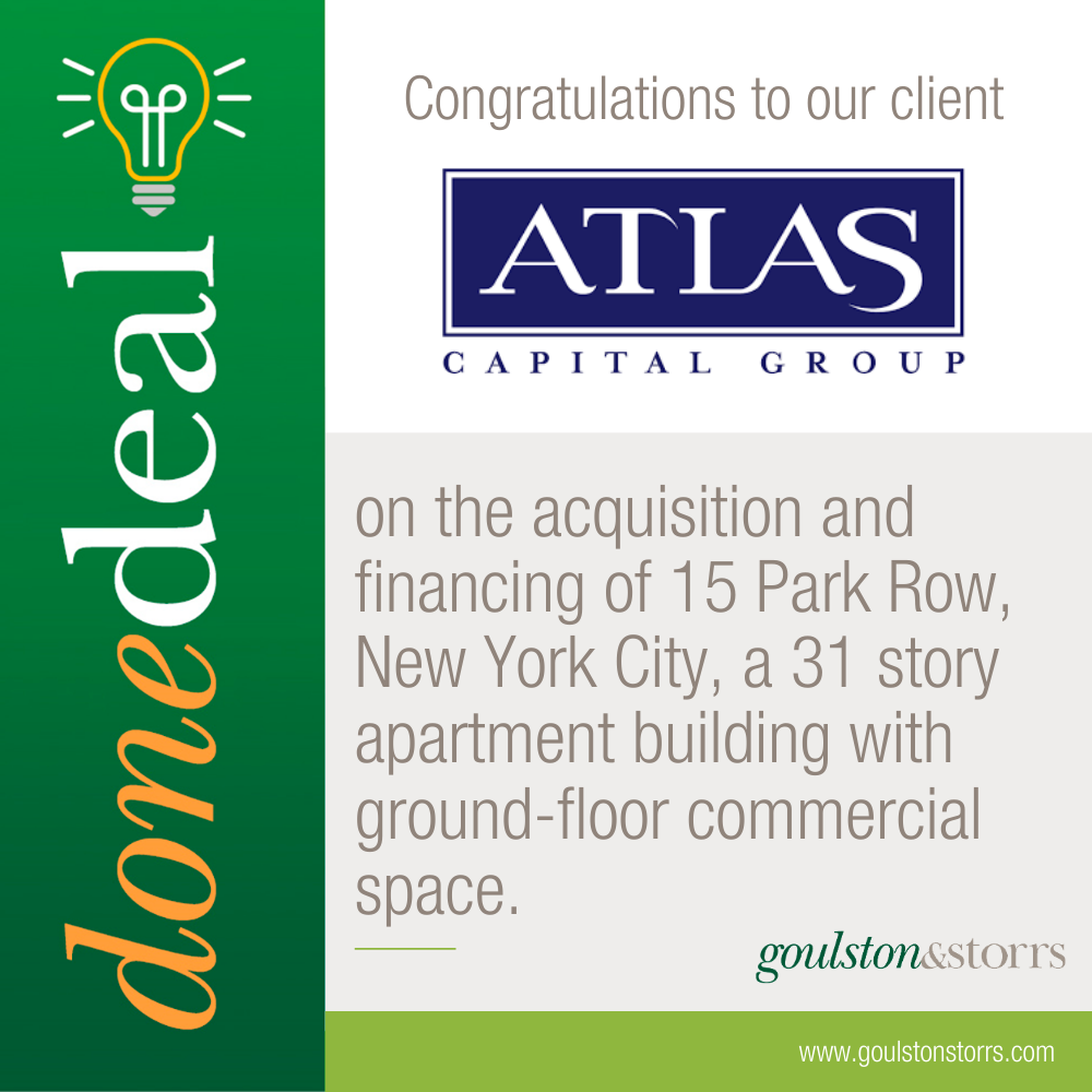 Congratulations to Atlas Capital Group on the acquisition of 15 Park Row, NYC