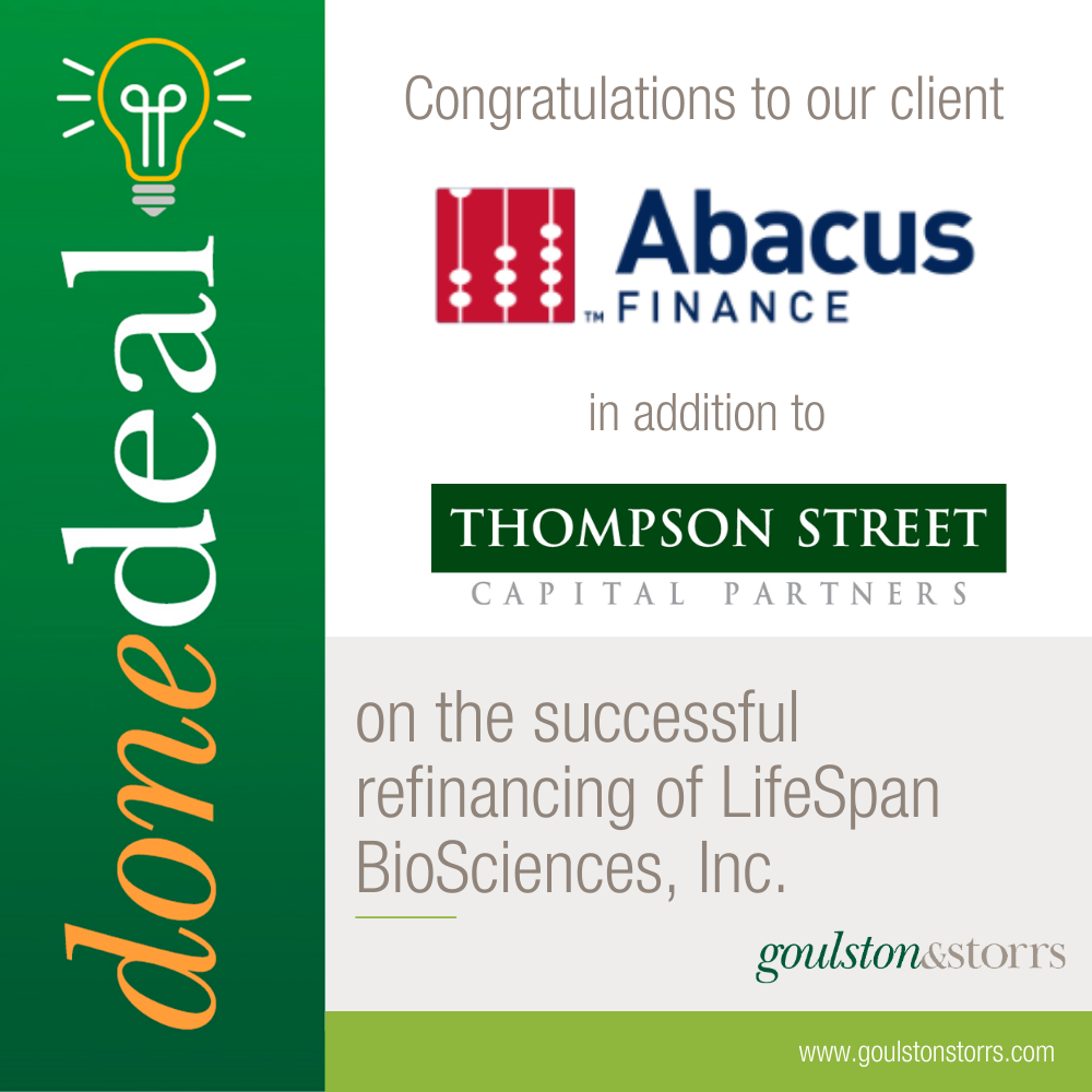 Abacus Finance and Thompson Street Refinancing of LifeSpan BioSciences, Inc.